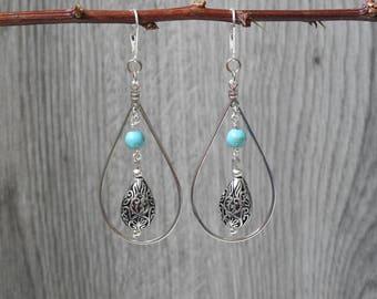 Turquoise Teardrop Earrings - Teardrop Hoop Earrings - Teardrop Dangle Earrings - Bohemian Chic - Statement Earrings - Gypsy Jewelry
