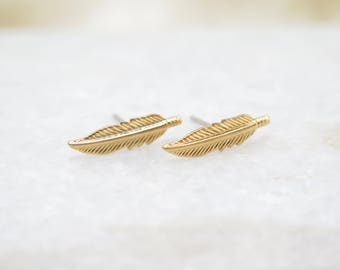 Gold Feather Stud Earrings, brass, gold, titanium, hypoallergenic, dainty
