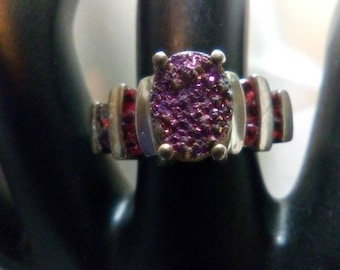 Pink Drusy and Orange Sapphire Ring OOAK
