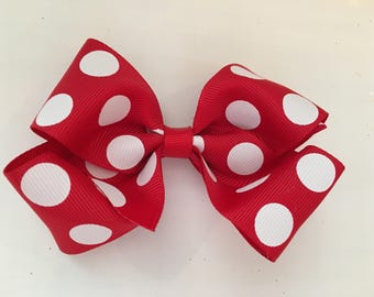 Jumbo Red and White Polka Dot Bow Minnie Mouse Bow Red and Polka Dot Bow Disney Bow Red Bow with Jumbo Dots Giant Hair Bow