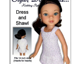 Knitting Pattern. Fits Hearts for Hearts Doll. Dress and Shawl, Instant Download 233