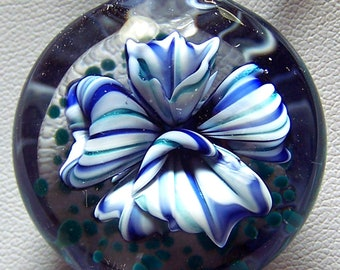 Multi striped tubular purple, blue and white glass 3D flower pendant - handmade lampwork glass pendant