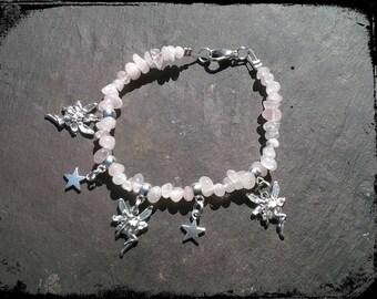 Rose quartz faery bracelet, crystal healing, pale pink, fairy