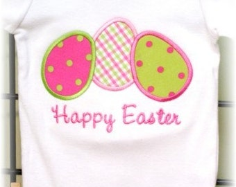 3 Easter eggs Applique Machine Embroidery Design INSTANT DOWNLOAD