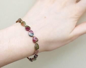 Watermelon tourmaline slice bracelet, polished gemstone, tourmaline bead bracelet, handmade fine jewellery, statement tourmaline jewellery