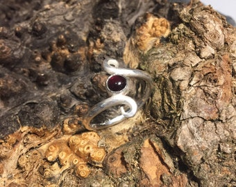 Garnet Ring 925/-Handmade
