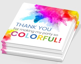 Set of 6 Thank You for Making My Party So Colorful Tags