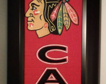 Chicago Blackhawks Man Cave Team Banner....Framed