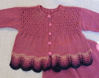 Pure Linen Knit Set for Baby Girl  -  Pants and Jacket/Coat - Ready to Ship - Free Shipping in US