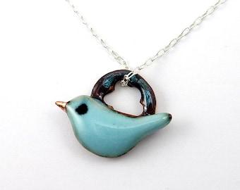 Fat Little Blue Bird & Ring Necklace - Bluebird No. 5