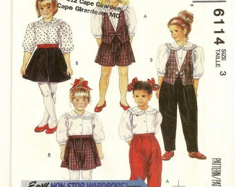 """A Ruffled Collar Blouse, Vest, Pull-On Culottes and Pants Sewing Pattern: Uncut - Childrens Size 3, Breast 22"""" • McCall's 6114"""