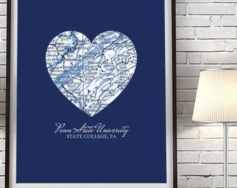 Penn State Nittany Lions State College Pennsylvania Vintage Heart Map Art Print, Christmas gift for her