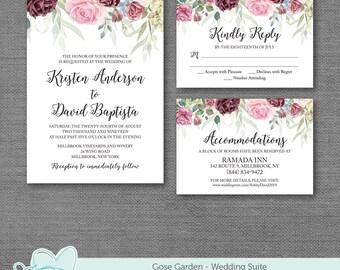 Rose Garden Wedding Invitation, RSVP Card, Accommodations Card, Details Card, Information Card, Ceremony Card, 1R