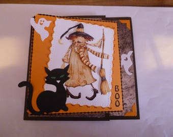 "2017103 card Halloween ""Witch and her black cat"""