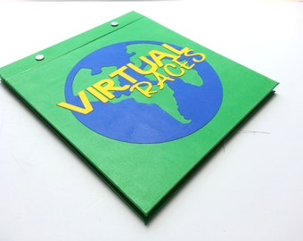 Race Bib Holder - Virtual Race Bibs Globe - Hand-bound Book for Runners Green Blue Yellow