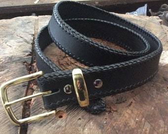 Leather belts featuring Kangaroo leather laced edge