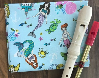 NEW FABRIC- Tin Whistle Bag, Recorder Cover, Irish Penny Whistle, Custom Case, Sleeve, Flute Fife Instrument Pouch, Mermaids