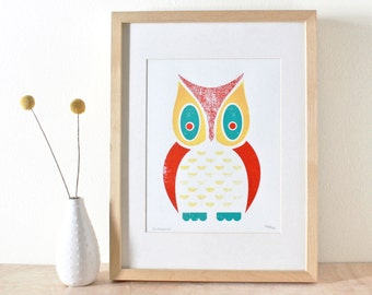 Owl Screenprint, Screenprint, Art Print, White