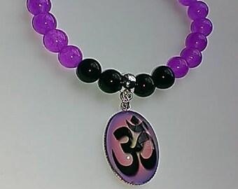 Beaded 'Ohm' Photo Charm Bracelet, gemstone bracelet, stretch, women's, Jade and Agate, spiritual jewelry, meditation, Om, yoga bracelet