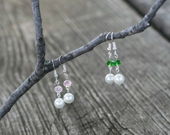 Custom Glass Pearl and Colored Crystal Silver Earrings - The Violet Earrings