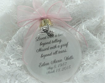 Memorial Ornament Free Personalization and Charm, Loved with a Love Beyond Telling
