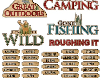 Campfire Digital Clipart - Camping Scrapbook Word Art Camp Out Words Digital Printable - Scouts Outdoors Printable - Instant Download