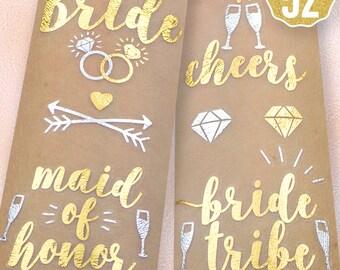 52 Bachelorette Party Flash Tattoos   Bride Tribe Favors   Bridesmaid Gift   Bachelorette Tattoos   Bridal Shower   Engagement Decoration