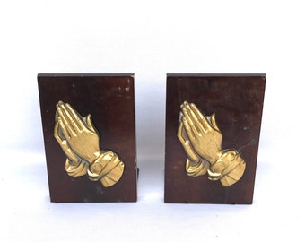 Vintage PRAYING HANDS BOOKENDS