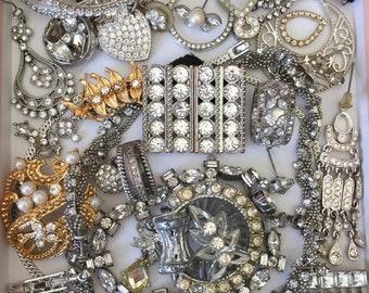 Clear Rhinestone Broken Jewelry Lot Vintage Harvest Repair Crafting Repurpose DIY Weddding Bouquet Decor Costume Jewelry