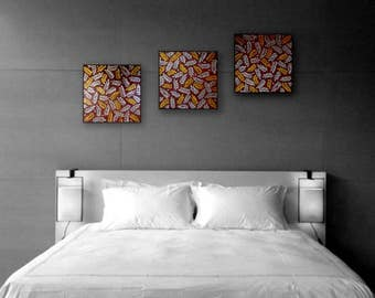 Original art Set of 3 pcs Gold and Silver wall decor Leaves painting Abstract painting 3D Art Nature painting Modern art Original Wall art