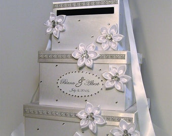 Super Large 4 tier Wedding Card Box/Quinceañera/Sweet 16/Birthday White Gift Card Box Money Box  Holder--Customize in your color-Custom Made