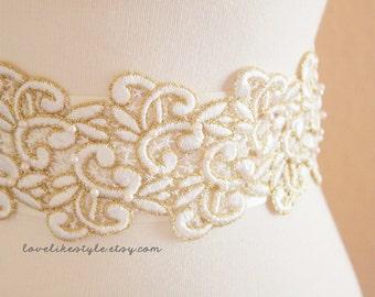 Ivory and Gold Lace with  Pearl Beading Sash , Bridal Sash, Bridesmaid Sash , Wide Sash / SH-22
