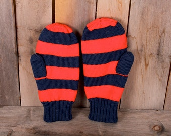 Vintage Pair Handmade Wool Red Blue Striped XLarge Mens Mittens