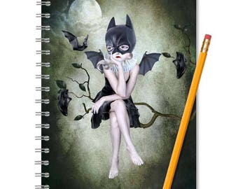 Notebook & Journal | Batgirl | Spiral Book | Lined Notebook | Blank Notebook | Lined Journal | Blank Journal | Sketchbook | Bats | A5