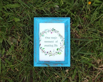 Lapis Blue Frame - Wedding Frames, Shabby Chic Rustic Picture Frames