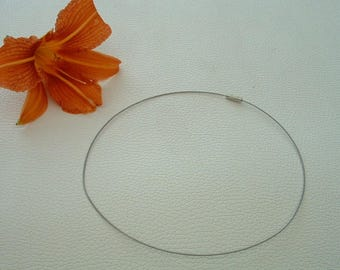 ROUND neck in thread of steel color gray Metal 45cm