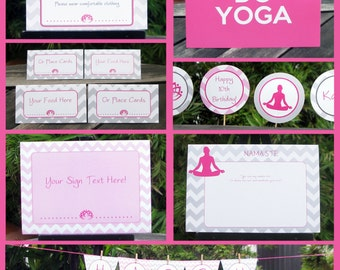 Yoga Party Invitations & Decorations - full Printable Package - INSTANT DOWNLOAD with EDITABLE text - you personalize at home