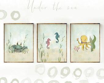 Ocean wall art, Crab, Hippocampus, Octopus - Nursery Decor - nursery decor sea - Kids Wall Art - Nursery Art