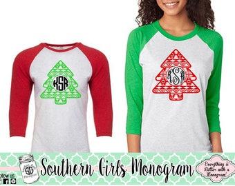Christmas Shirt • Monogram Christmas Shirt • Aztec Christmas Tree • Monogram Shirt • Holiday Shirt • Girls Christmas Shirt