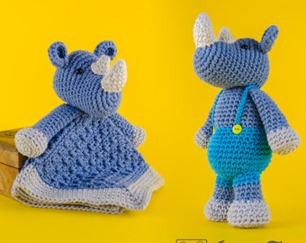 Combo Pack - Max the Rhino Lovey and Amigurumi Set for 7.99 Dollars - PDF Crochet Pattern - Instant Download - Special Offer Pattern Pack