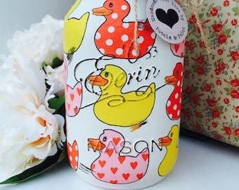 Handmade Mason Jar Rubber Ducks Vintage Shabby Chic