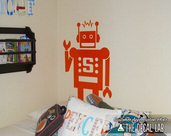 Robot with Monogram Letter Personalized Wall Decal - WAL-2149