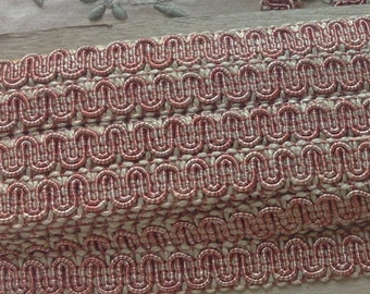 Vintage Two Tone Cranberry Coral and Cream Scroll Gimp 3 yards - Conso Vintage Scroll Gimp Yardage - C15