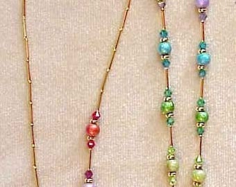 RAINBOW CRYSTAL handmade with  Swarovski Crystals Elements Eyeglass Chain Holder Silver or Gold