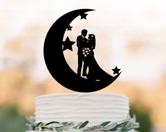 Moon and star Wedding Cake topper,  Bride and groom silhouette , funny cake topper, unique cake topper,