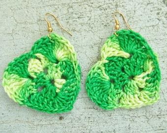Granny square heart handmade hook crocheted  earrings