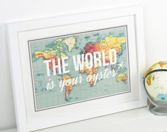 World map print travel poster map quote wanderlust poster the world is your oyster world map world map print poster map of the world travel quote wanderlust map print map quote travel maps gumiabroncs Choice Image