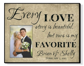 """Personalized Picture Frame for 5""""x7"""" Photo Newlywed Photo Frame Wedding or Anniversary Gift 15""""x12"""" Overall Size"""