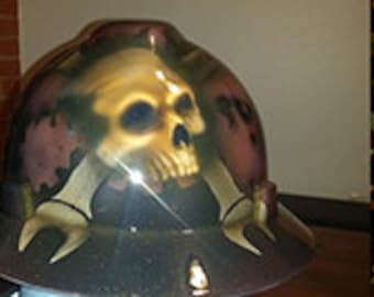 Mechanic themed hard hat with gears and skulls