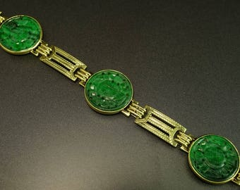 14K Yellow Gold Carved Green Jade Disk Station Asian Bracelet